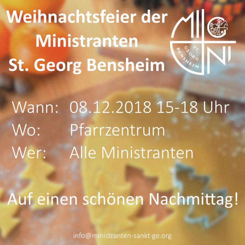 Plakat zur Kinder Weihnachtsfeier 2018 von den Ministranten Sankt Georg Bensheim